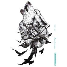 Pegatina tatuaje con patron de animal y flor