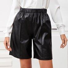 PU Leder Shorts mit elastischer Taille