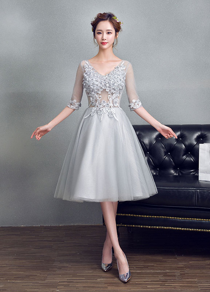 Milanoo Tulle Prom Dress Light Grey Beading Flower Homecoming Dress Applique V Neck Half Sleeve A Line Tea Length Cocktail Dress
