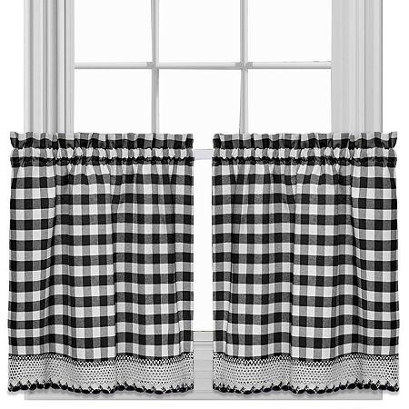 Buffalo Check Rod-Pocket Window Tiers, One Size , Black