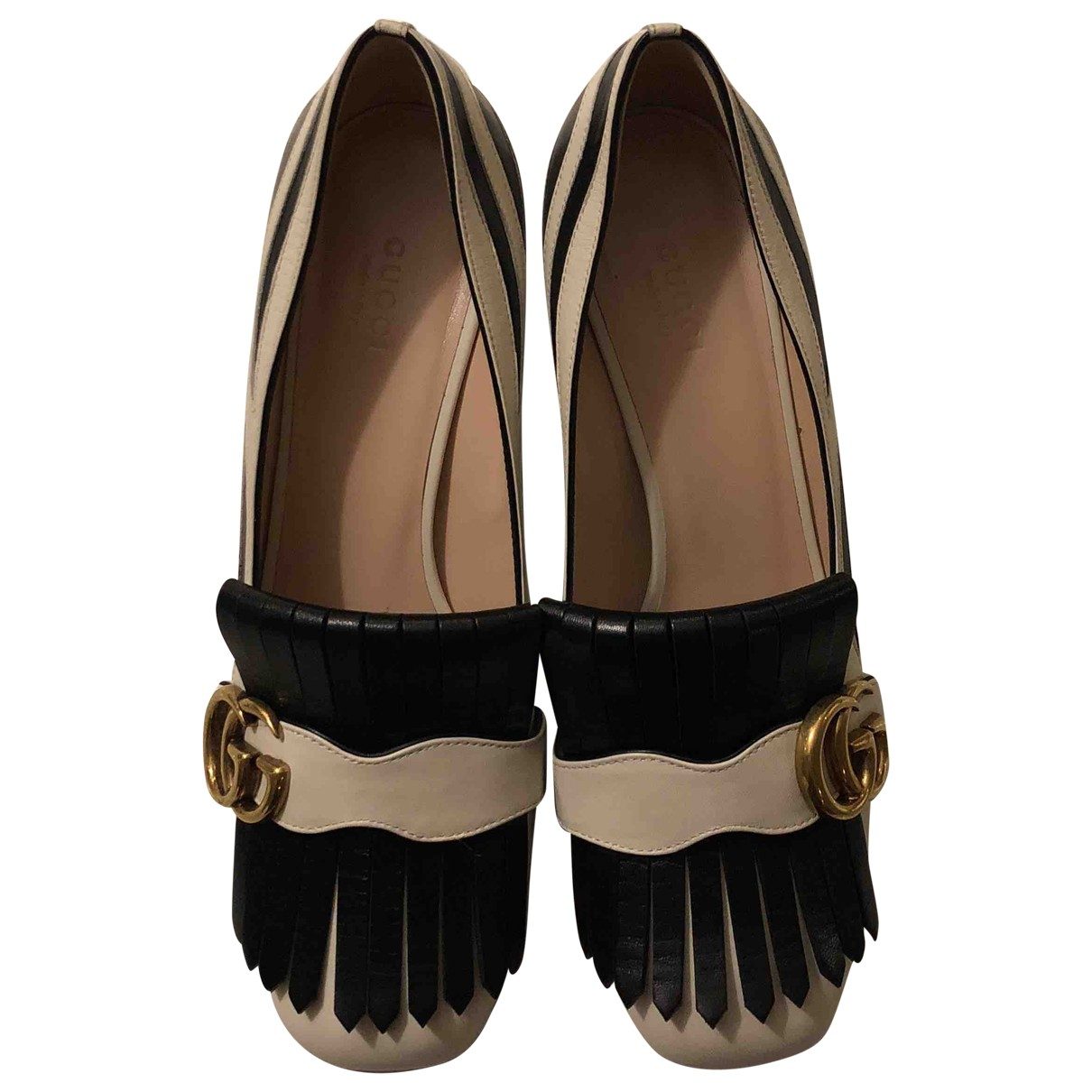 Gucci Marmont Ecru / Black Leather Flats for Women 38.5 IT