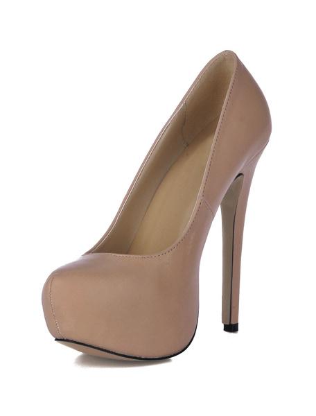 Milanoo Zapatos de tacon de color negro