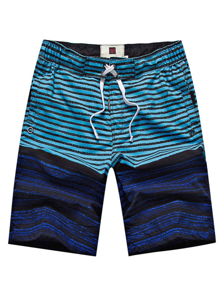Milanoo Striped Swim Shorts Men's Drawstring Waist Color Block Summer Beach Swim Trunks