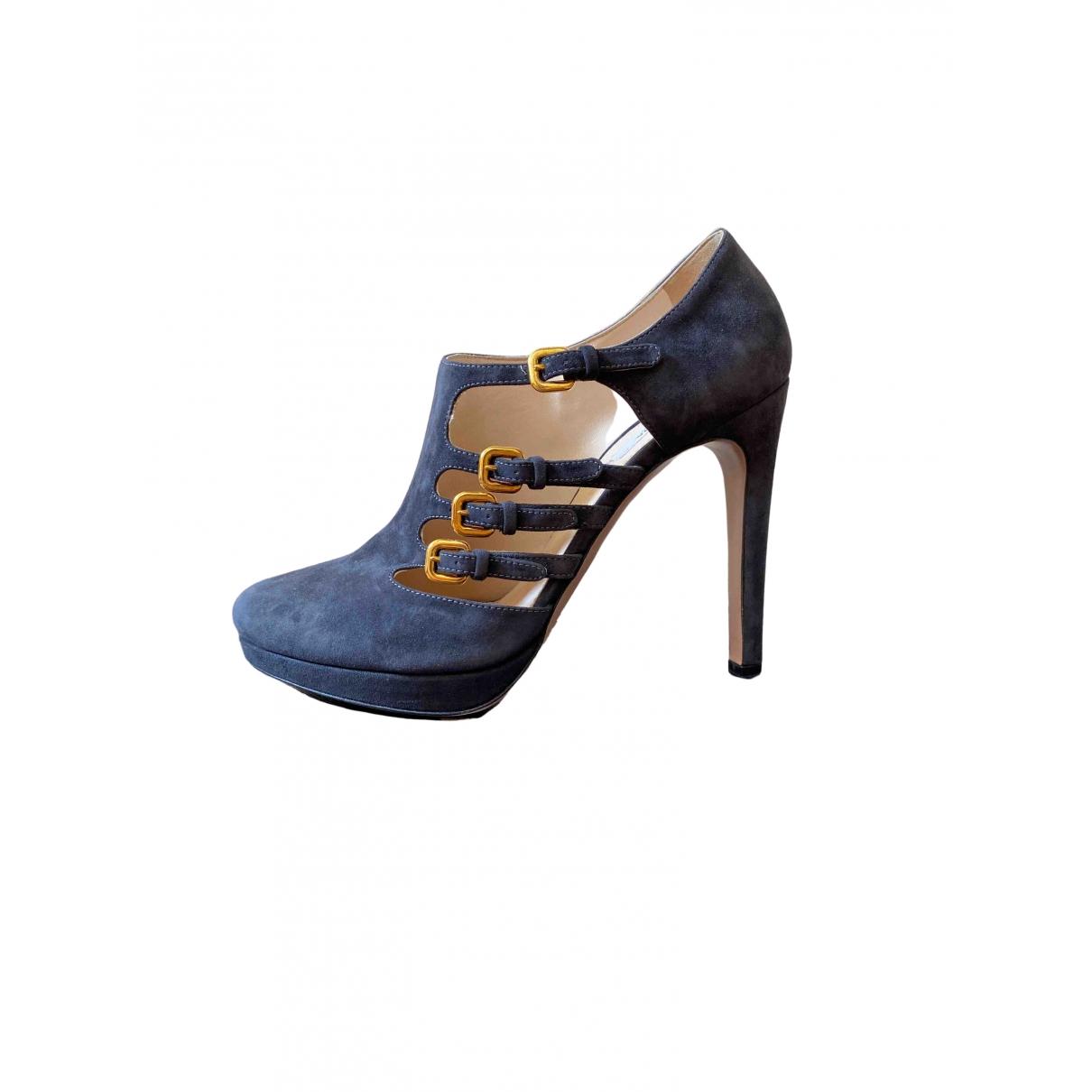 Prada \N Black Suede Ankle boots for Women 39 EU