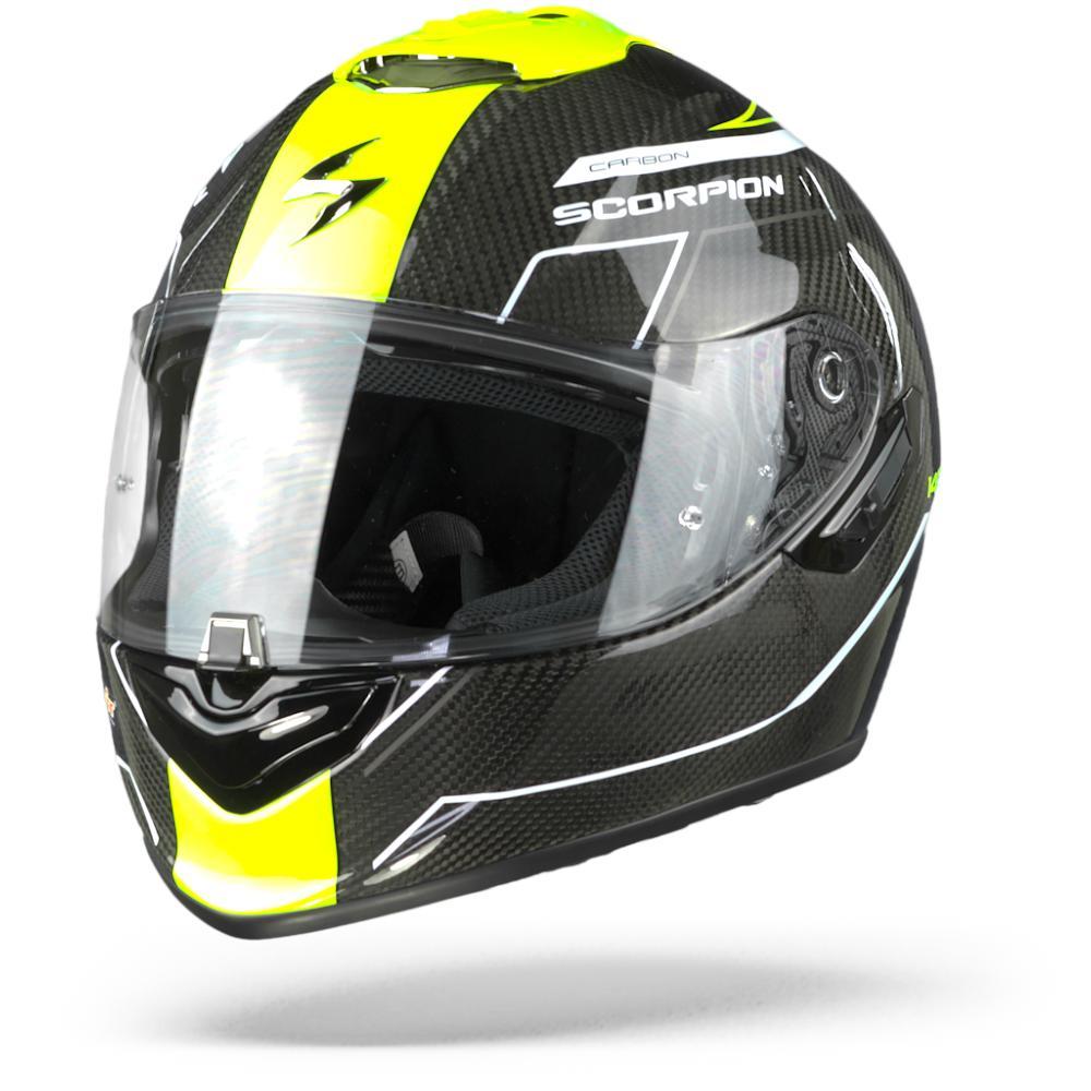 Scorpion EXO-1400 Air Carbon Beaux Casco Integral (Full Face) Blanco Amarillo Neon 2XL