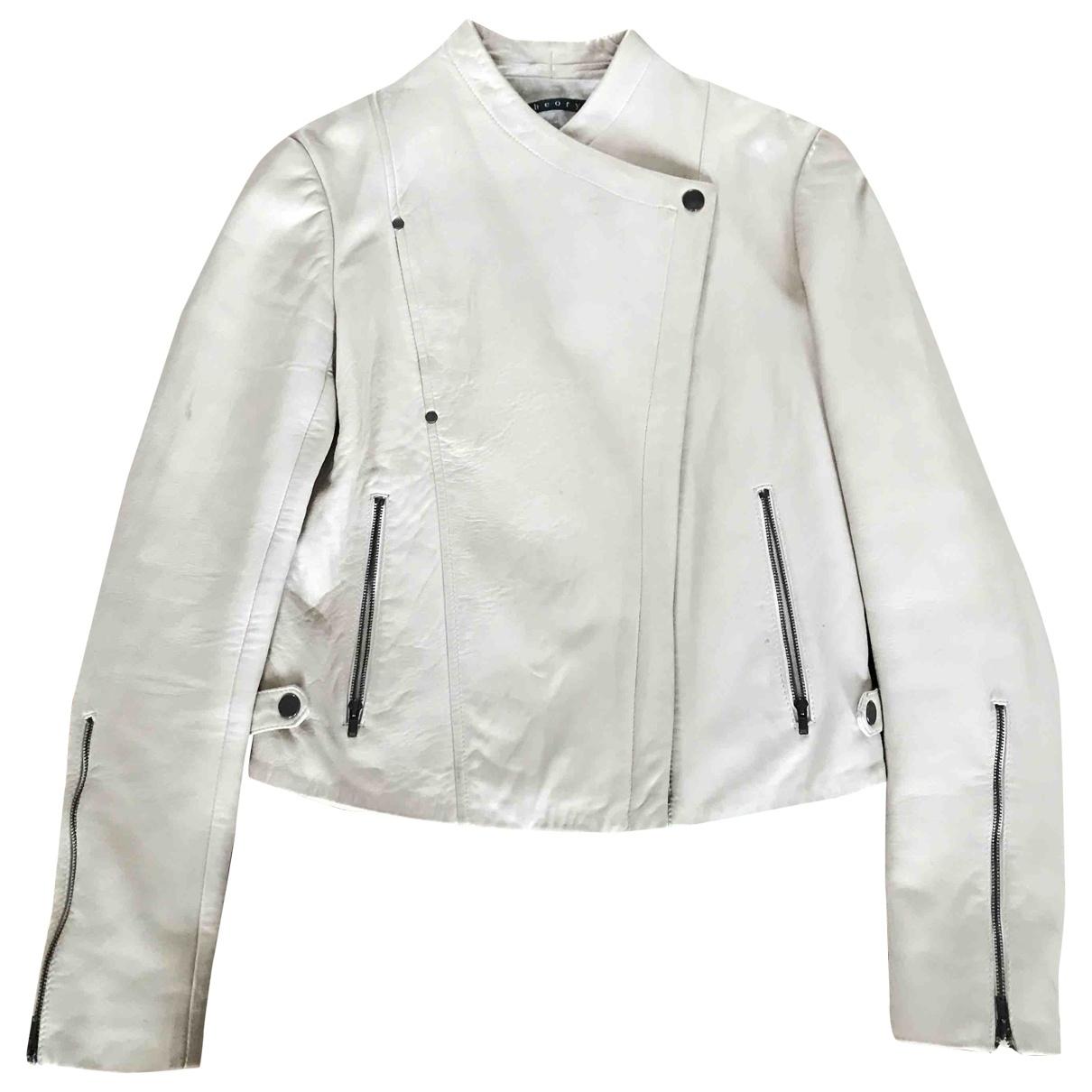 Theory \N Beige Leather jacket for Women S International