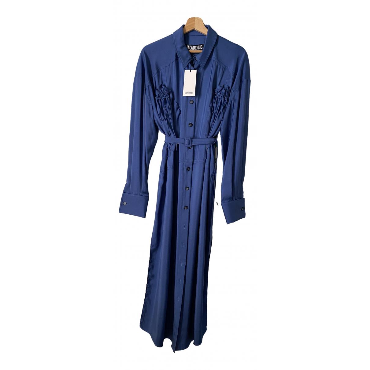 Jacquemus La Collectionneuse Kleid in  Blau Seide