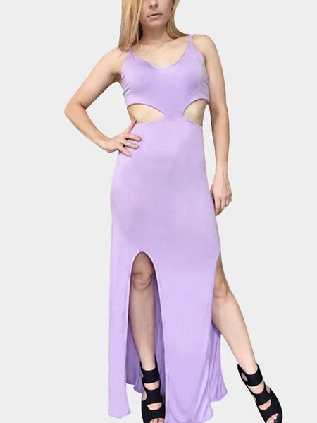 Yoins Sleeveless Cutout Slit Hem Maxi Dress