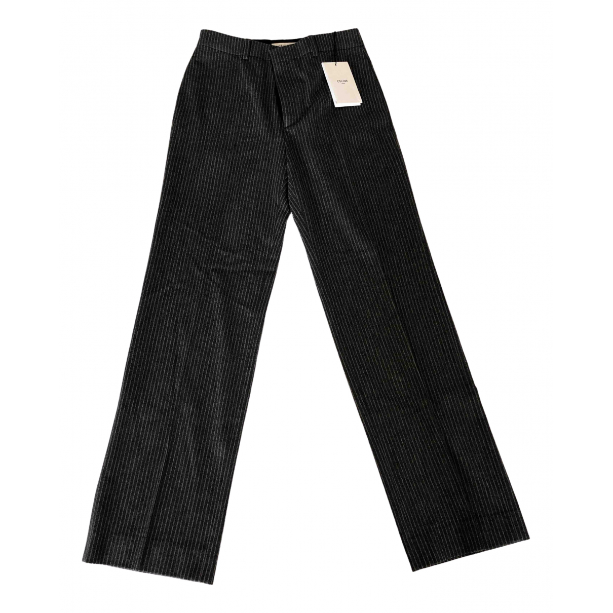 Celine \N Grey Wool Trousers for Women 36 FR