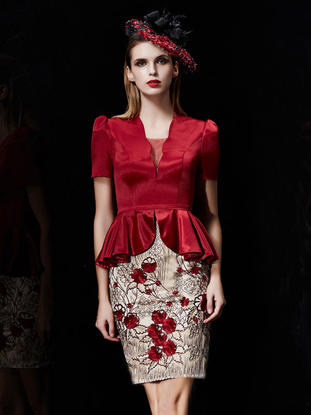 Milanoo Mother Of Bride Dress Burgundy Wedding Party Dress Fake Two Piece Peplum Sequin Flower Embroidered Beading Sheath Knee Length Wedding Guest Dr
