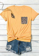 Leopard Pocket V-Neck T-Shirt Tee without Necklace - Yellow