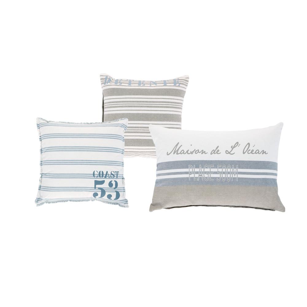 Kissen in ecru und blauer Baumwolle mit Motiven, 30x30 (x3)
