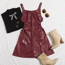 PU Leder Cami Kleid mit V Ausschnitt Ruecken, Rueschen und seitlichem Ausschnitt