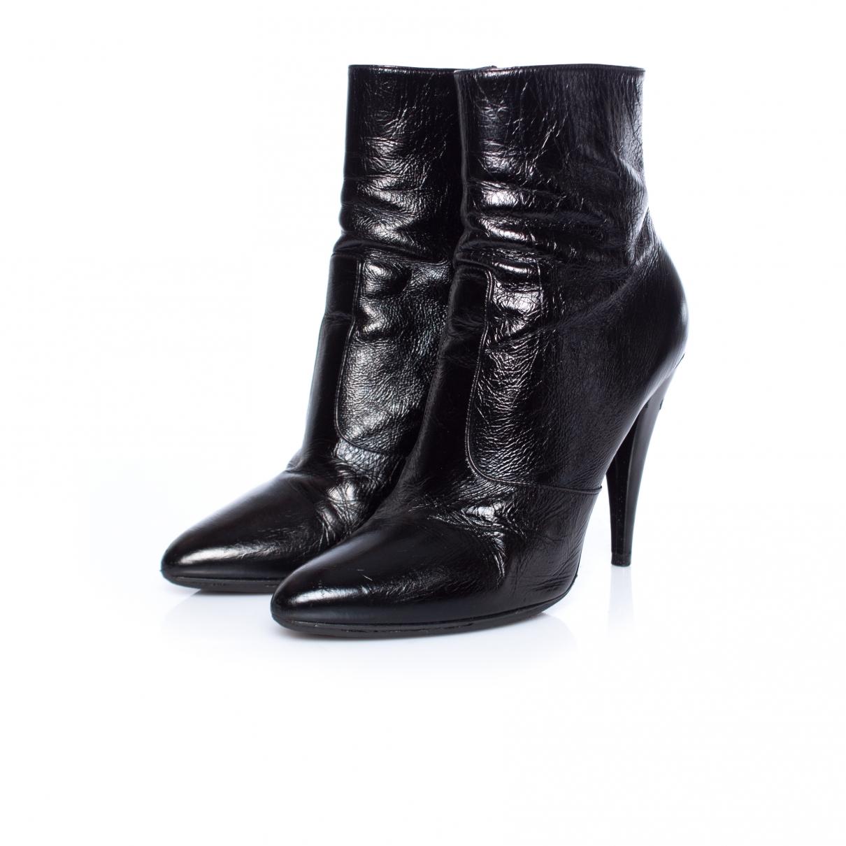 Saint Laurent - Boots   pour femme en cuir verni - noir
