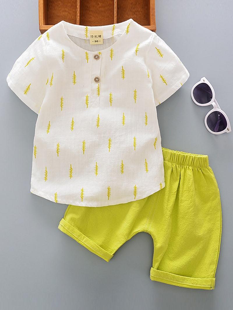 Ericdress Simple Cotton Blends Boys 2-Pcs Shorts Outfit