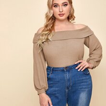 Plus Off Shoulder Foldover Front Waffle Knit Top