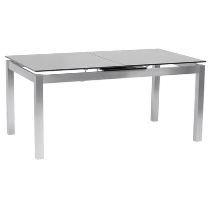 Ivan Collection LCIVDIGG Extension Dining Table in Brushed Stainless Steel and Gray Tempered Glass