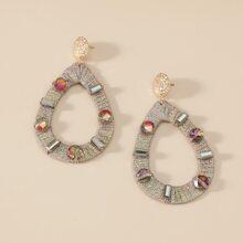 Crystal Decor Waterdrop Drop Earrings