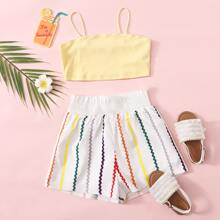 Crop Cami Top & Shorts mit geraffter Taille und Streifen Set
