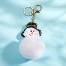 Christmas Snowman & Pom Pom Charm Keychain