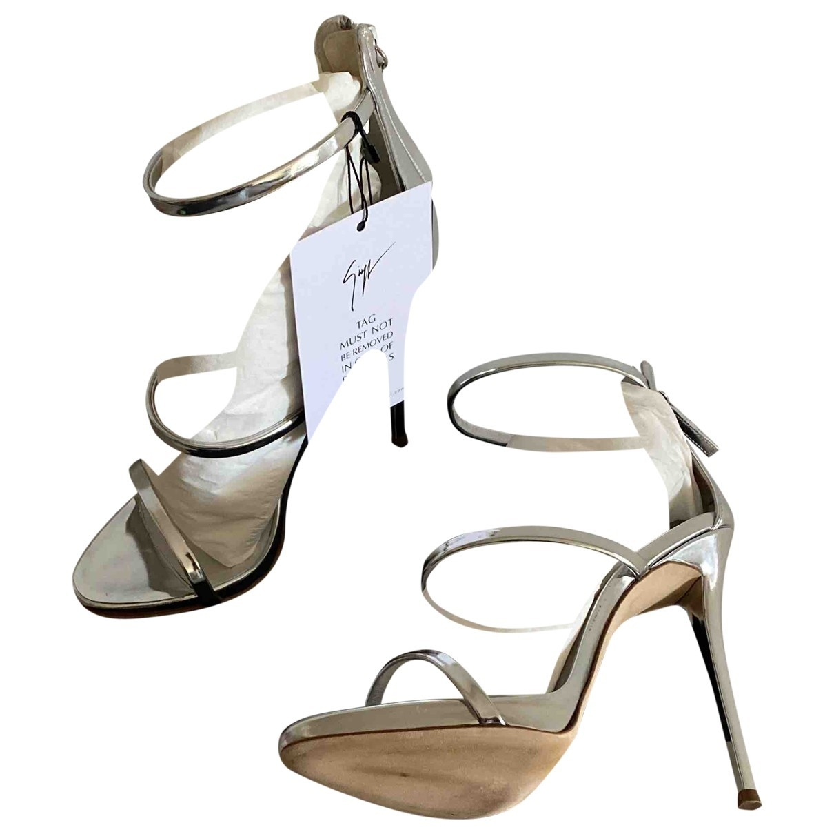 Giuseppe Zanotti \N Silver Patent leather Sandals for Women 38 EU