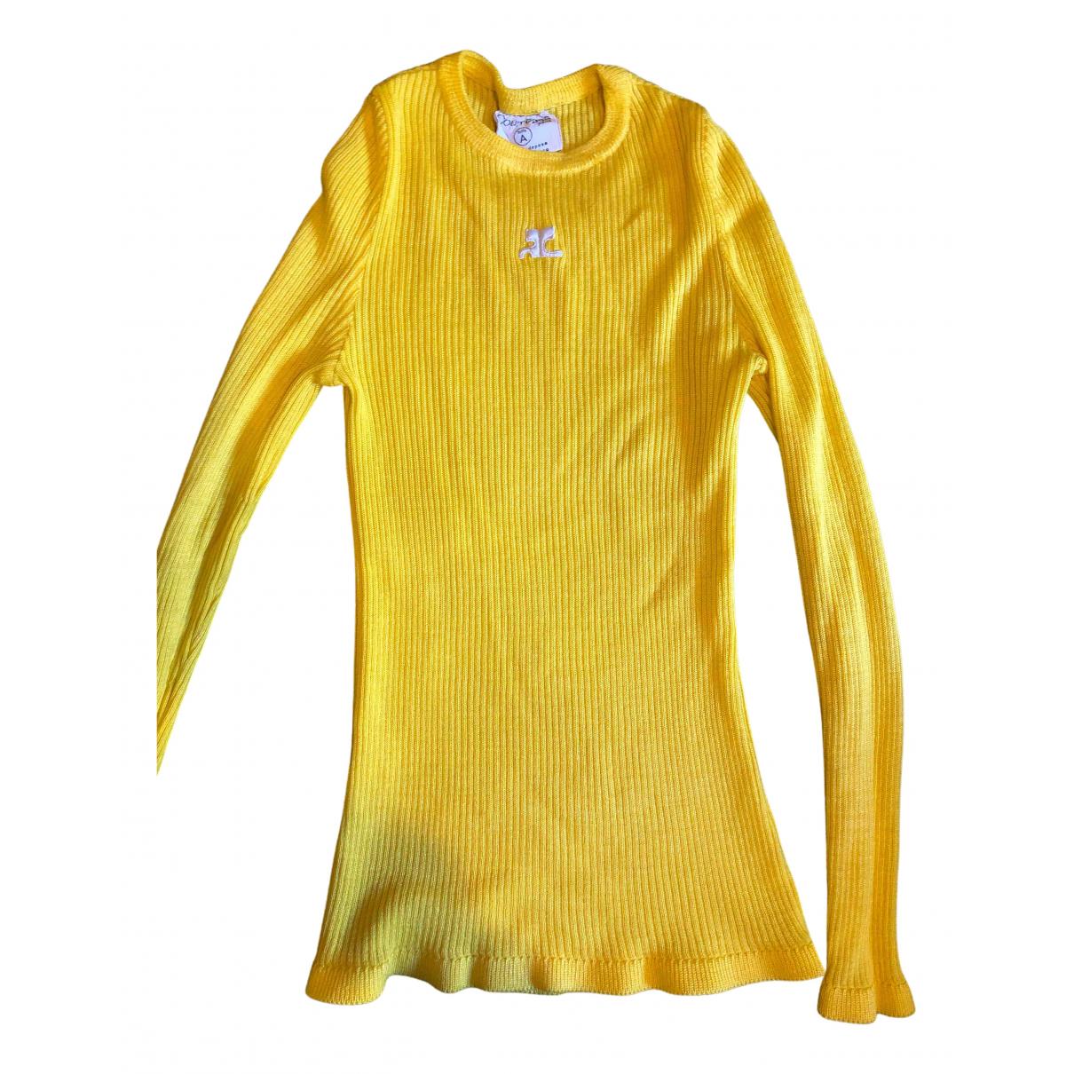 Courreges - Pull   pour femme - jaune