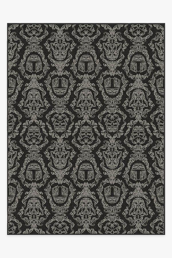 Washable Rug Cover & Pad | Dark Side Damask Charcoal Rug | Stain-Resistant | Ruggable | 9'x12'