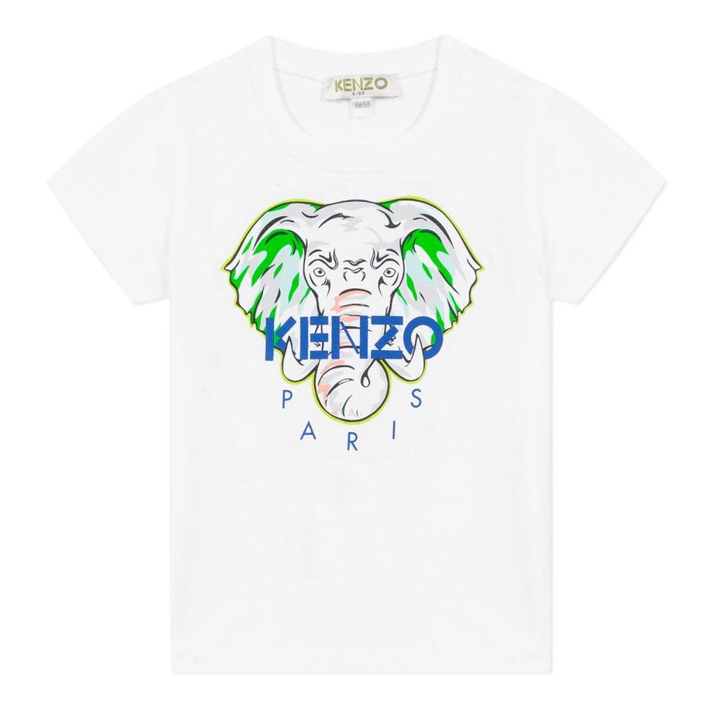 Kenzo Kids Elephant Logo Baby T-Shirt White Size: 1 YEARS, Colour: WHITE