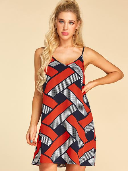 YOINS Red Backless Design Geometrical V-neck Sleeveless Dress
