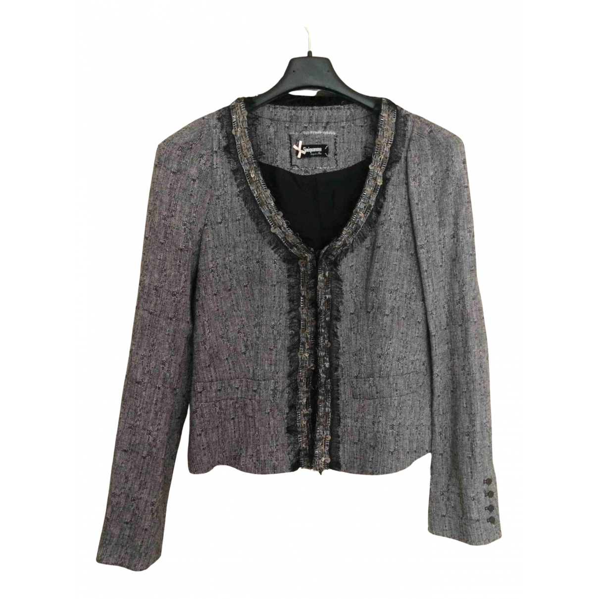 Non Signé / Unsigned N Grey Wool jacket for Women 38 FR