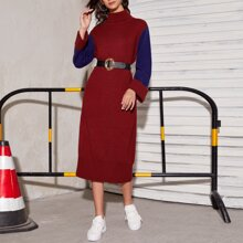 Color Block High Neck Sweater Dress Without Belt