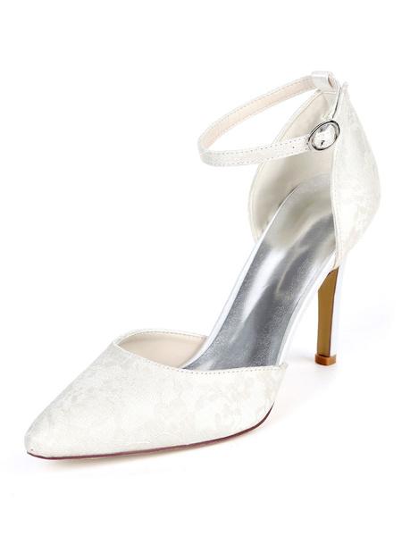 Milanoo Zapatos de novia de encaje 9.5cm Zapatos de Fiesta Zapatos blanco  de tacon de stiletto Zapatos de boda de puntera puntiaguada