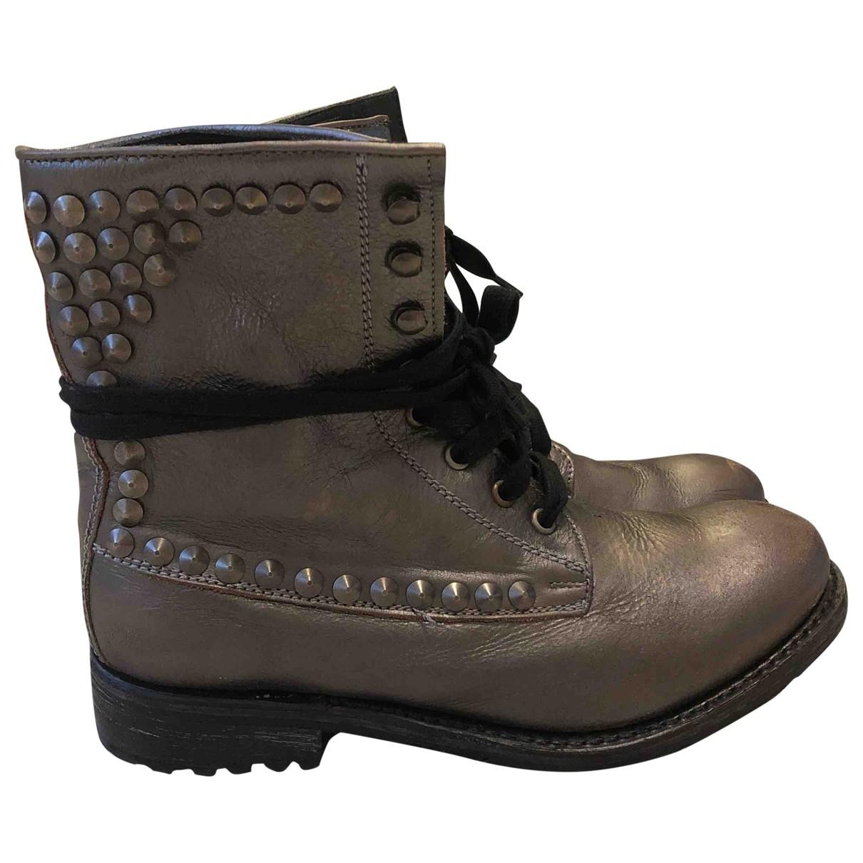 Ash - Boots   pour femme en cuir - argente
