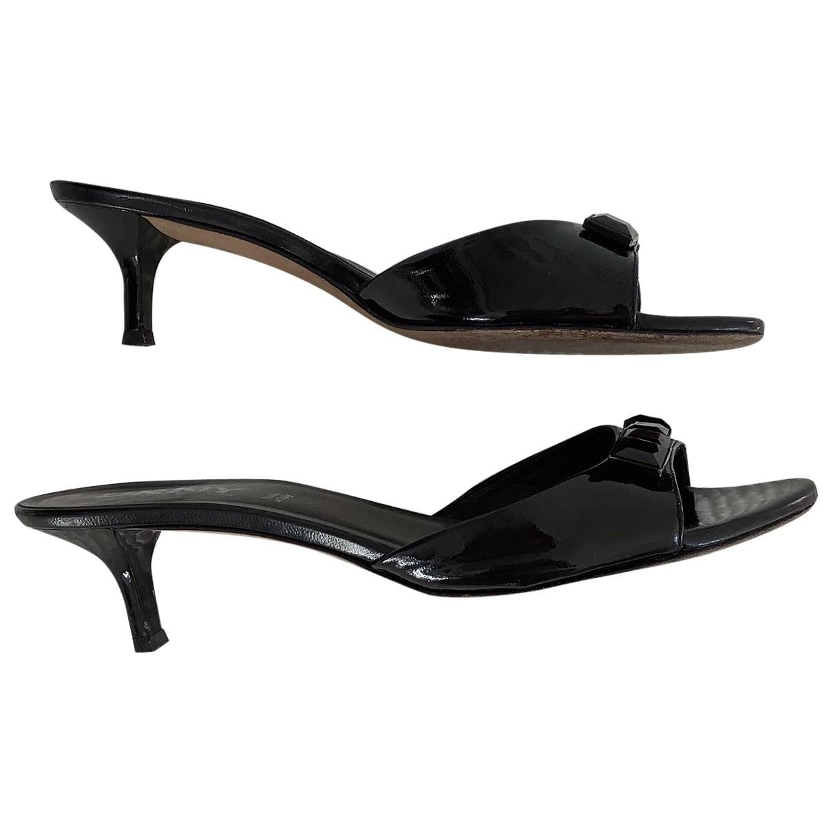 Donna Karan - Sandales   pour femme en cuir verni - noir