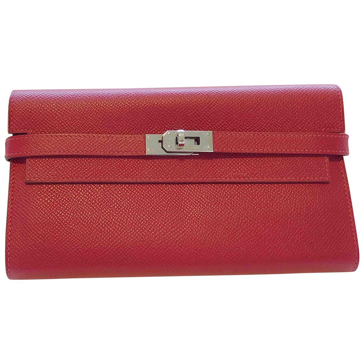 Hermes Kelly Portemonnaie in  Rot Leder