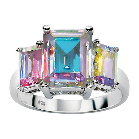 DiamonArt Womens 5 1/2 CT. T.W. Multi Color Cubic Zirconia Sterling Silver Cocktail Ring, 7 , No Color Family