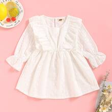 Baby Girl Eyelet Embroidery Ruffle Trim A-line Dress