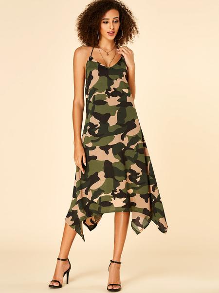 Yoins Camo Backless Design Halter Sleeveless Dress