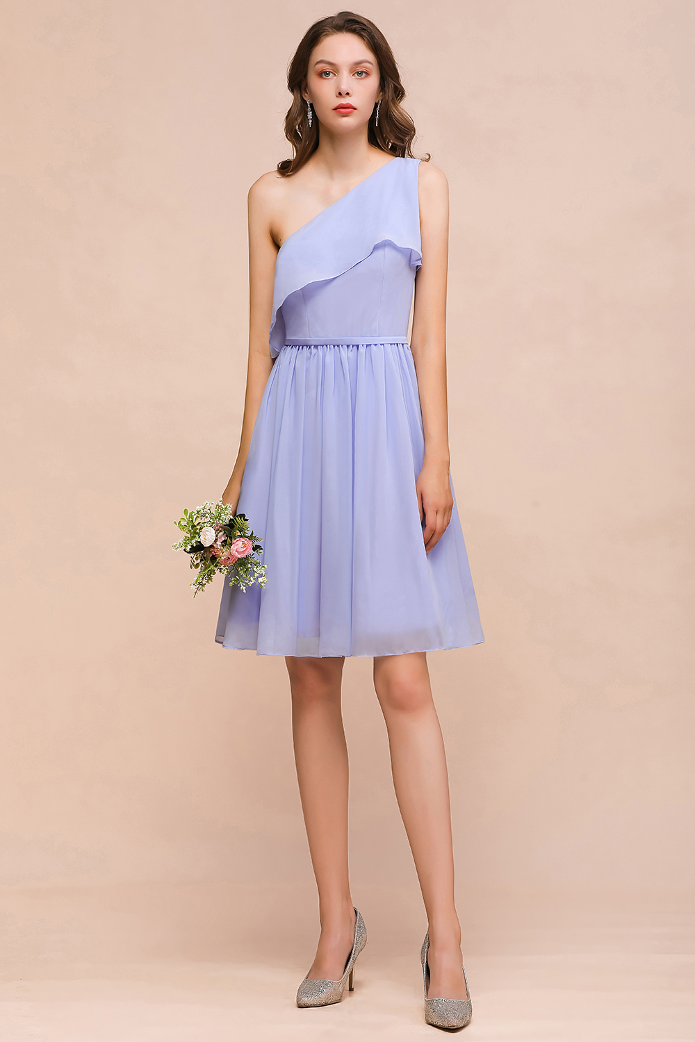 BMbridal Affordable One Shoulder Ruffle Lavender Chiffon Short Bridesmaid Dress