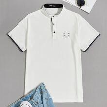 Men Embroidery Detail Mock Neck Polo Shirt