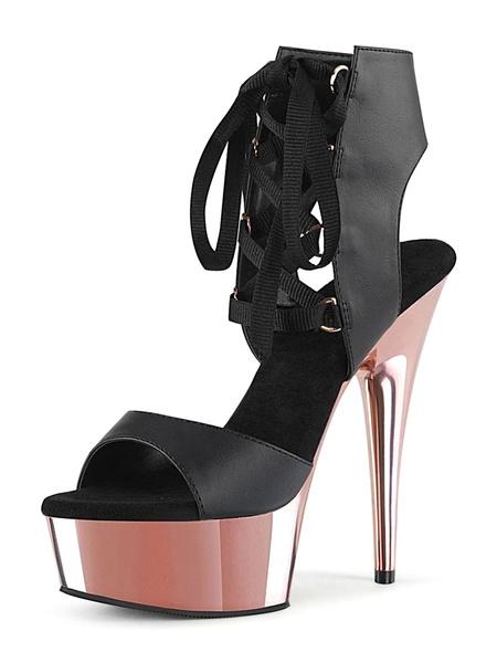 Milanoo Women Sexy Sandals Black PU Leather Peep Toe Ankle Tie Platform Sexy Sandals