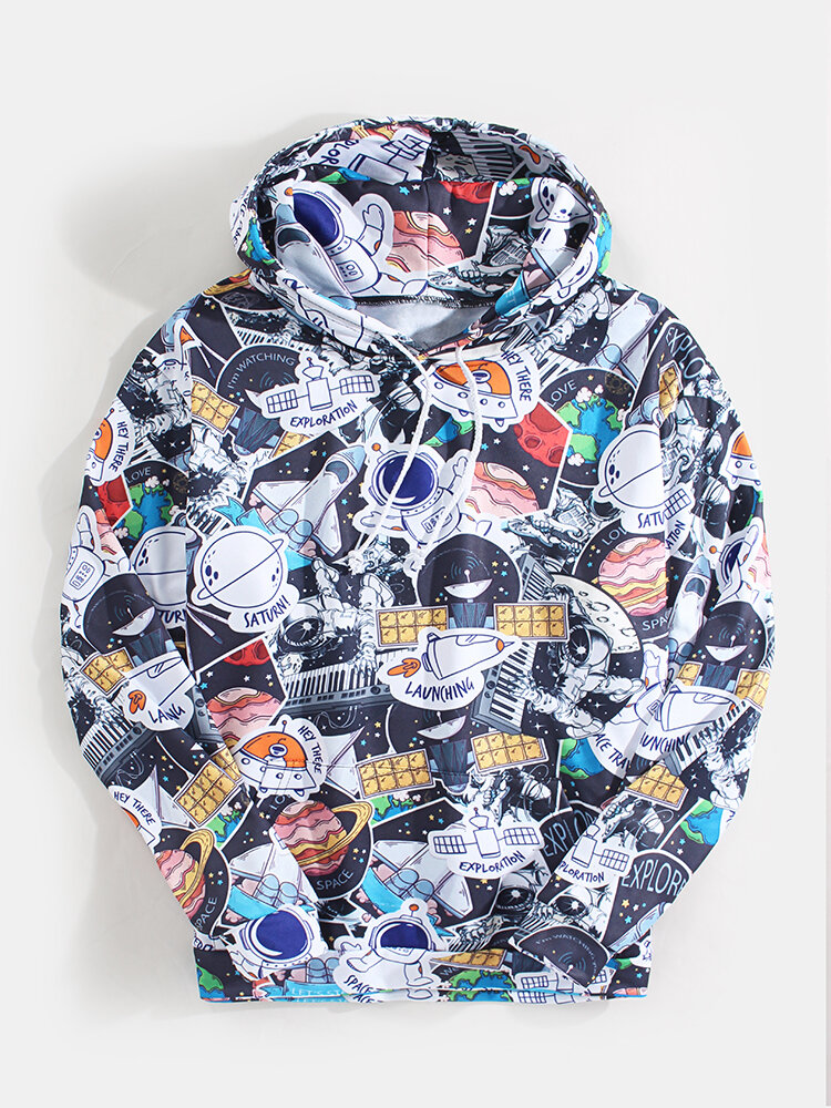 Mens Cartoon Space Astronaut Print Casual Pouch Pocket Drawstring Hoodies