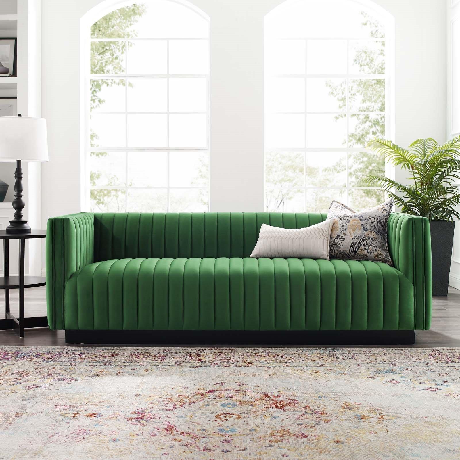 Conjure Channel Tufted Velvet Sofa in Emerald