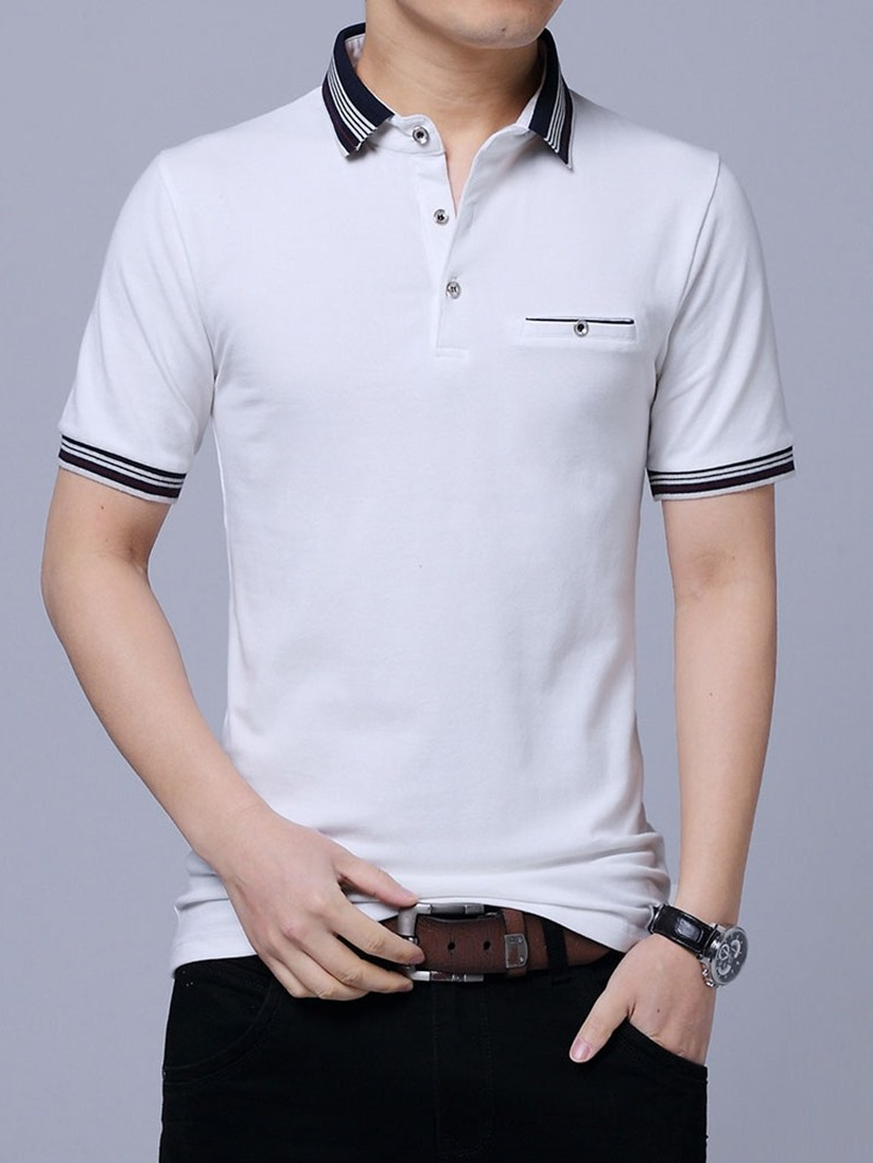 Ericdress Stripe Casual Polo Neck Polo Men's Shirt