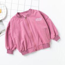 Toddler Girls Letter Embroidery Bomber Jacket