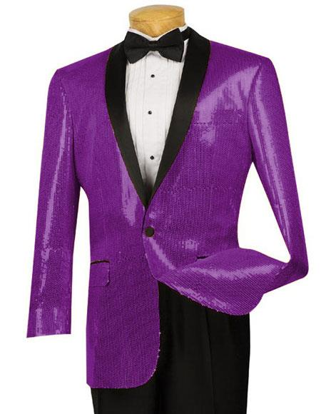 Mens Black Lapel Blazer Sport Coat Tuxedo Purple Dinner Jacket