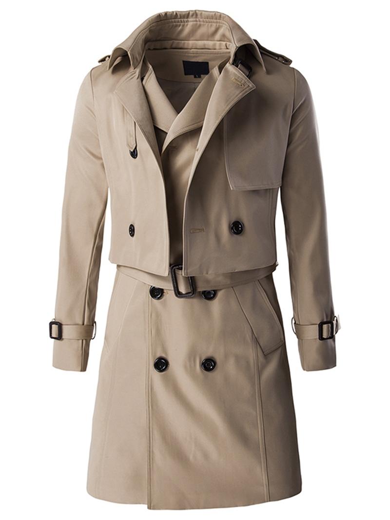 Ericdress Detachable Vogue Double-Breasted Slim Men's Trench Coat