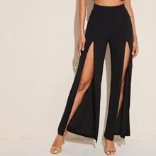 Zipper Side Split Thigh Palazzo Pants