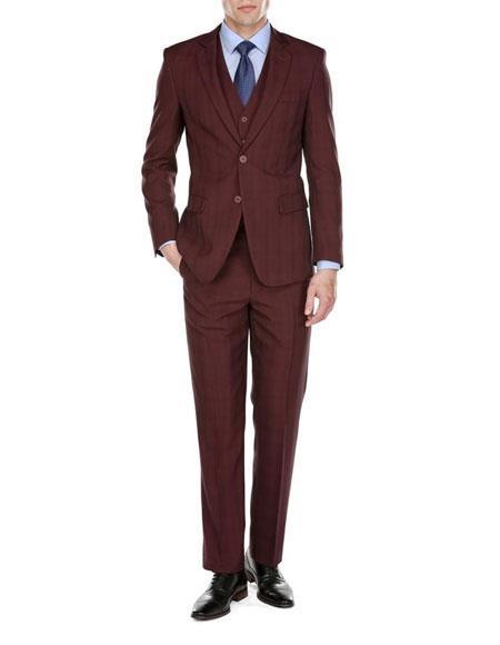 Men's 2Button Burgundy Pattern Notch Lapel 3Piece Modern Vested Suit