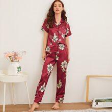 Floral Print Button-up Satin PJ Set